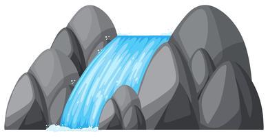 Cachoeira pequena nas rochas vetor