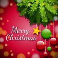 Feliz Natal cartão com enfeites na árvore vetor