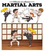 Meninos e meninas treinando artes marciais