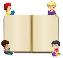 Modelo de livro com crianças lendo vetor