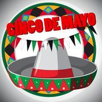 Modelo de cartão Cinco de Mayo com chapéu e bandeiras vetor