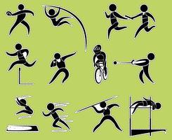 Design da etiqueta com esportes de pista e campo