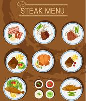 Menu de bife com diferentes tipos de carnes vetor