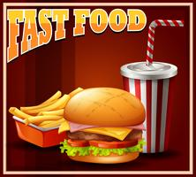 Fastfood definido em cartaz vetor