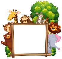 Moldura de madeira com muitos animais no fundo vetor