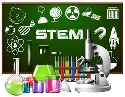 Design de cartaz para educação de haste com ferramentas de ciência vetor