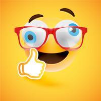 Emoticon com polegares para cima, ilustração vetorial