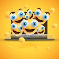 Emoticons amarelos realistas na frente de um notebook, ilustração vetorial
