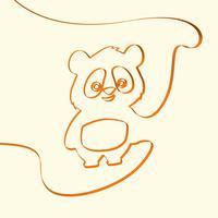 3D linha art panda animal ilustração, ilustração vetorial