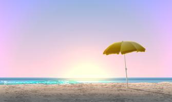 Paisagem realista de uma praia com pôr do sol / nascer do sol e um guarda-sol amarelo, ilustração vetorial