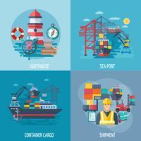Conjunto plano de porto marítimo