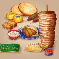 Conjunto de comida árabe vetor