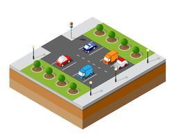 Estacionamento isométrico urbano