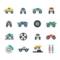 Conjunto de ícones de caminhão de monstro vetor