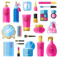 Conjunto de ícones plana de acessórios de beleza de maquiagem vetor