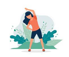 Mulher feliz exercitando no parque. vetor