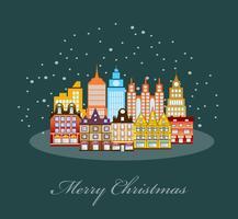 Natal urbano da vila decorado vetor