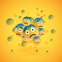 Grupo de emoticons amarelos altamente detalhados, ilustração vetorial vetor