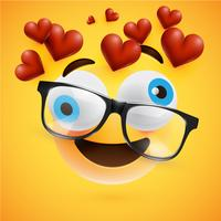 Emoticon com corações fluindo, ilustração vetorial