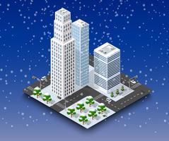 Paisagem do inverno da cidade vetor