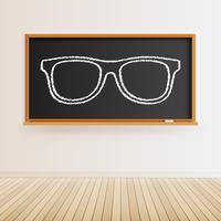 Lousa preta alta detalhada com piso de madeira e um óculos desenhados, ilustração vetorial