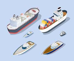 Modelos isométricos de navios vetor