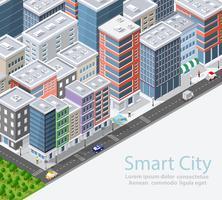 Cidade inteligente isométrica urbana vetor