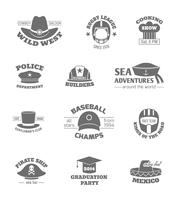 Selos de profissões de chapéu vetor
