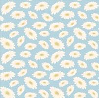 flor de margarida branca desenhada mão vintage padrão sem emenda vetor