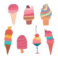 mão desenhada coleção de verão sorvete de cone pastel vetor