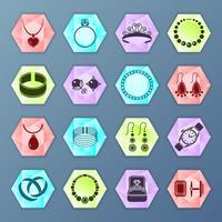 Hexágono de ícone de jóias vetor