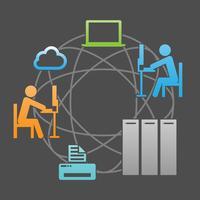 Ilustração de vetor de infra-estrutura de sistema de comunicação de rede