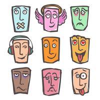 Esboço emoticons colorido conjunto vetor