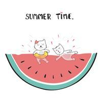 gatos nadando em melancia doodle desenho de mão vetor