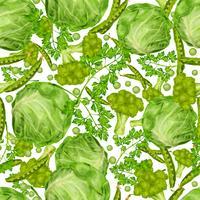 Padrão sem emenda de vegetais verdes vetor