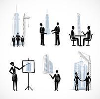 Conjunto de pessoas de negócios com edifícios