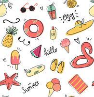cute doodle summer collection pattern ilustração em vetor plana sem emenda
