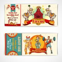 Conjunto de ingressos vintage de circo vetor