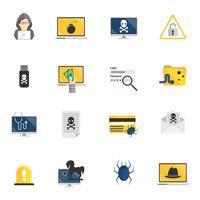 Ícones de hacker plana