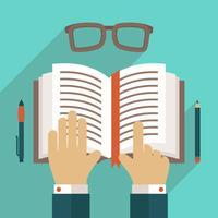 Livro, ícone, com, mão vetor