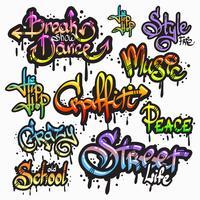 Conjunto de palavra de graffiti