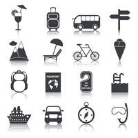 Conjunto de ícones pretos de viagens vetor