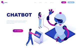 Conceito isométrico moderno design plano de Chat Bot e Marketing