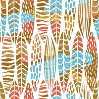 Padrão sem emenda tribal com folhas abstratas. Mão desenhar textura. vetor