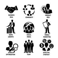 Conjunto de ícones de negócios e gestão