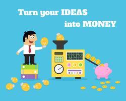 Conversor de dinheiro de idéias de vida de negócios