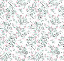flor rosa folhas verdes sem costura padrão vetor