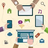 Mãos, segurando, móvel, dispositivos vetor