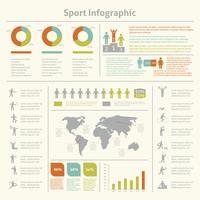 Gráfico de modelo de infográfico de esporte vetor
