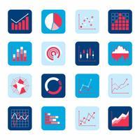 Ícones de gráfico de negócios vetor